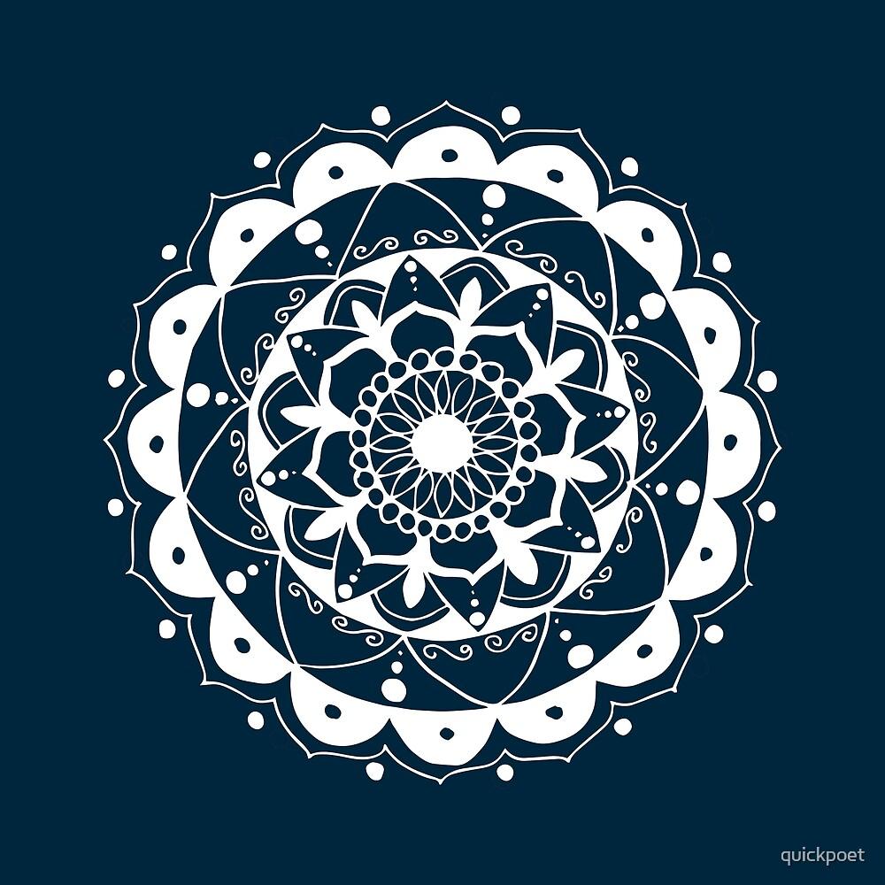 Zen white mandala on dark blue by quickpoet