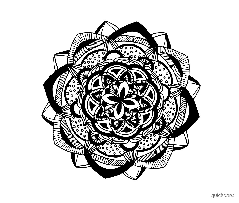 Blossoming black mandala on white by quickpoet