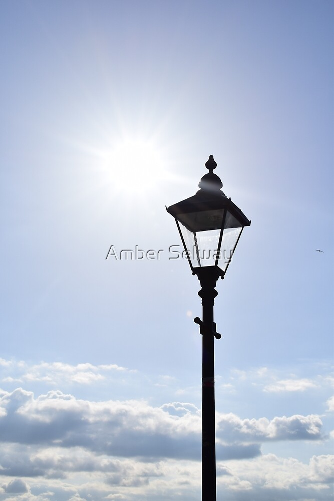 Vintage lamp post in the sun by Amber Selway