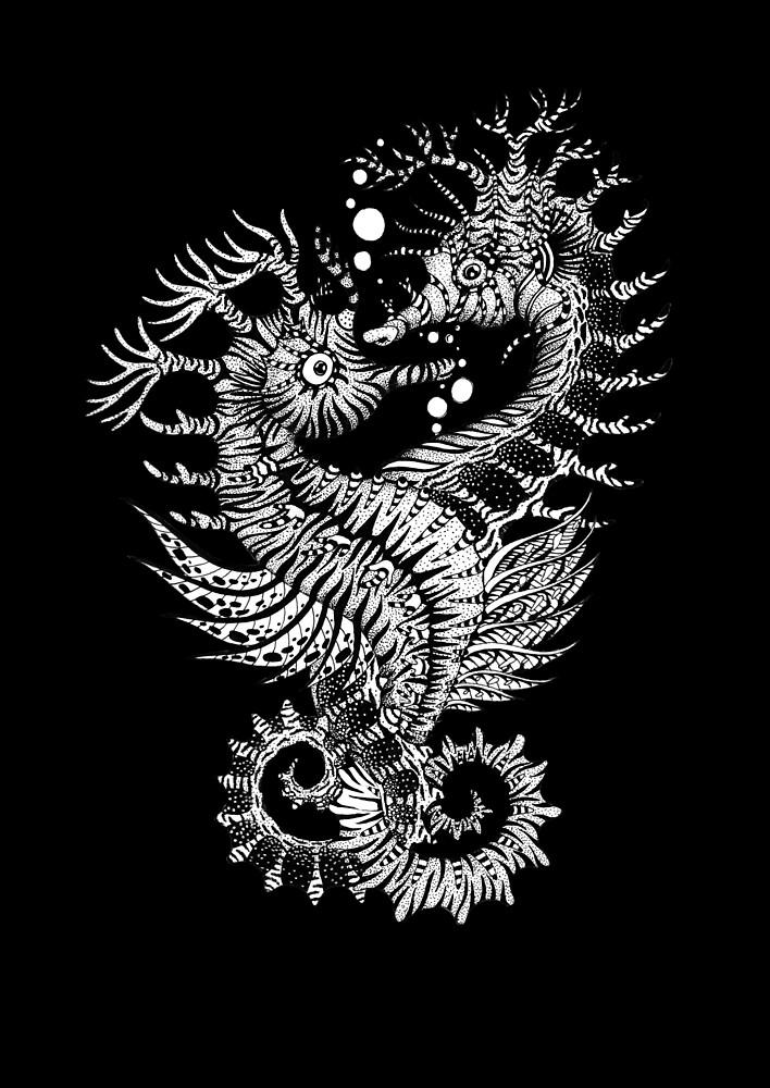 Animal Tribal Seahorse Tattoo by Ruta Dumalakaite