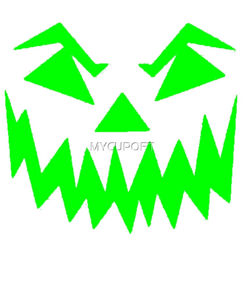 Scary Face Jack O'Lantern Green Halloween Party T-Shirt by MYCUPOFT