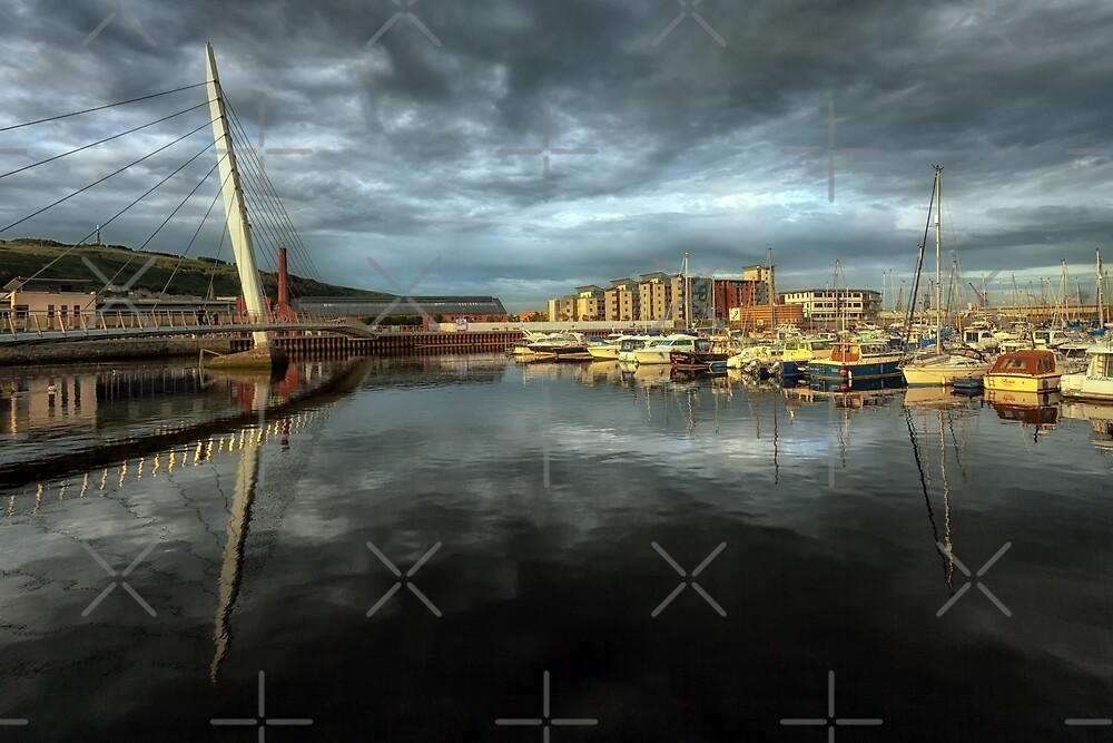Swansea marina and Sail Bridge by Leighton Collins