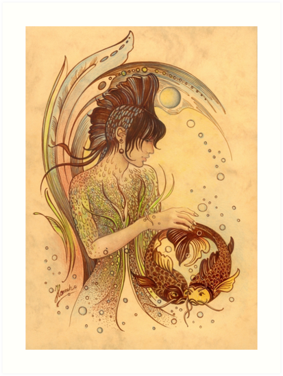 The Pisces Protective Angel For Zodiac Sign Art Prints By Anna