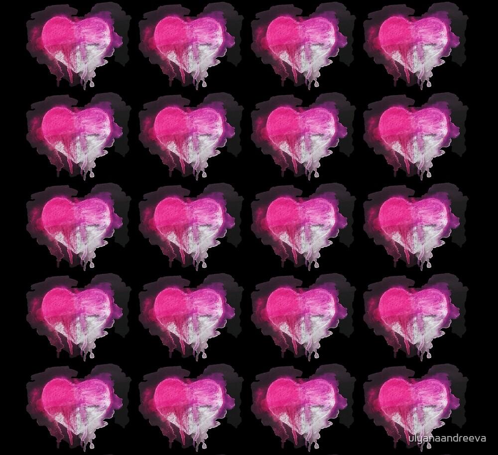 Watercolor hearts pattern by ulyanaandreeva