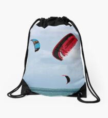 Kite boarders racing red and blue kites Drawstring Bag