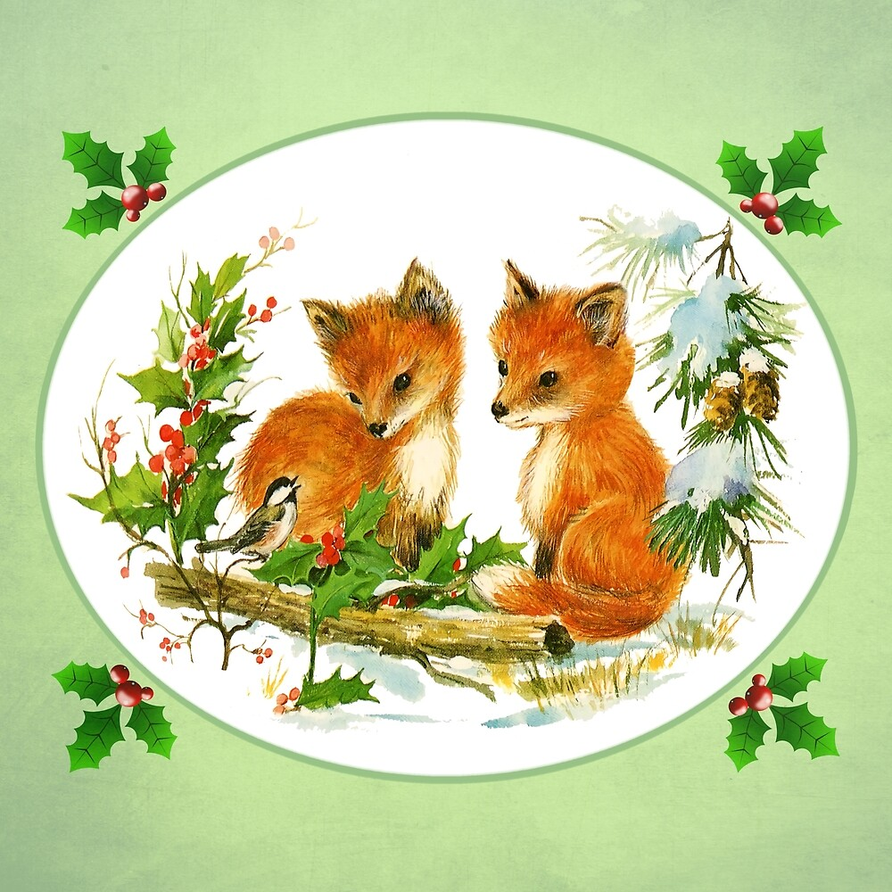 Vintage Christmas Foxes by Lainey1978