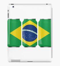 Patriotic Beer Cans Brazil w/ Brazilian Flag Tee Shirt iPad Case/Skin