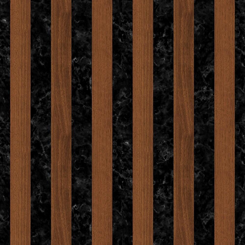 STRIPES1 BLACK MARBLE & BROWN WOOD by johnhunternance
