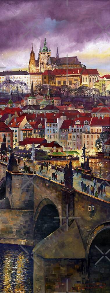 Prague Charles Bridge with the Prague Castle by Yuriy Shevchuk