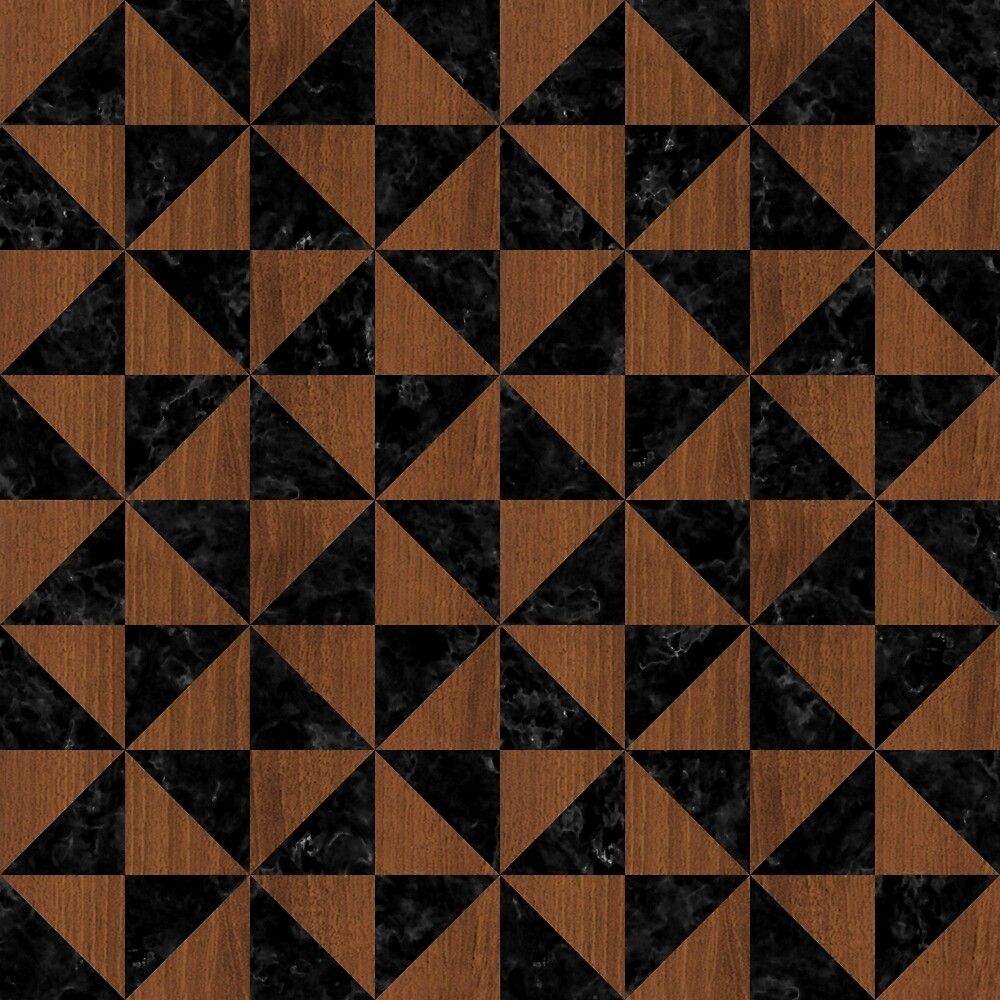TRIANGLE1 BLACK MARBLE & BROWN WOOD by johnhunternance
