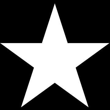 WHITE, STAR, on BLACK, Bright Star, STELLAR, ACHIEVEMENT by TOMSREDBUBBLE