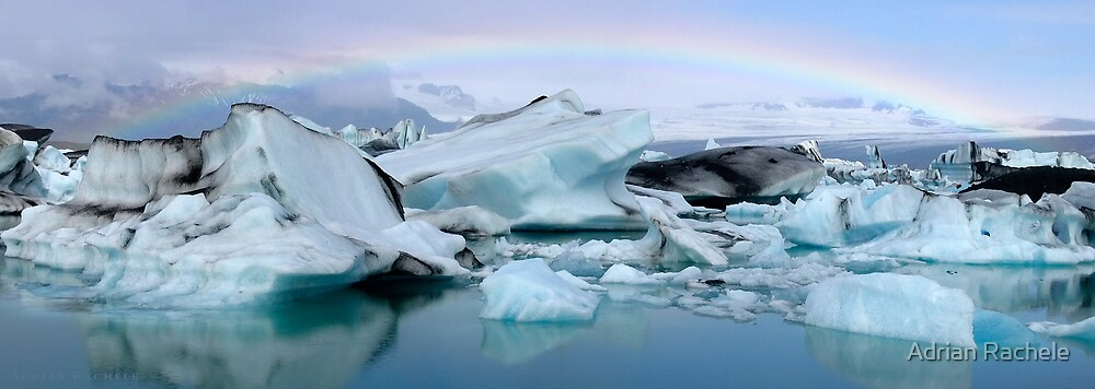 Jokulsarlon Morning Rainbow - Iceland by Adrian Rachele