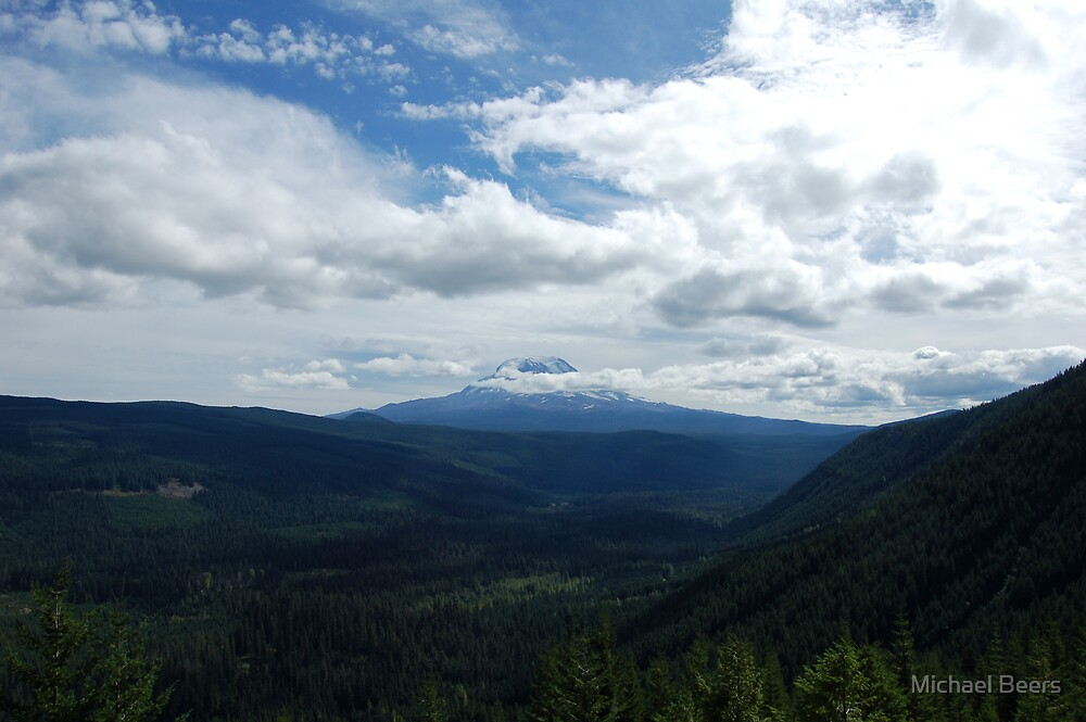 STANDING IN THE GOAT ROCKS AREA LOOKING AT MT. ADAMS by Michael Beers