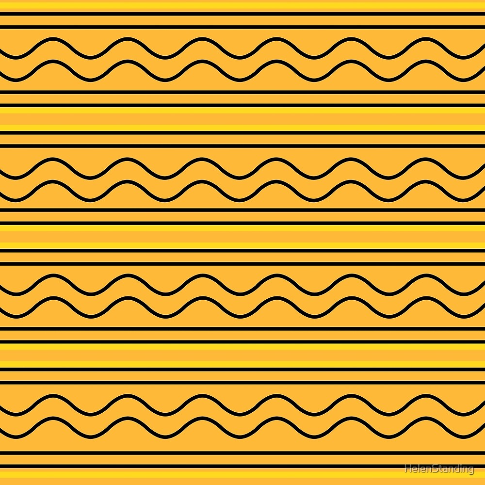 Waves and Stripes - Yellow (B5) by HelenStanding