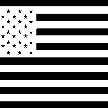 American Flag, STARS & STRIPES, USA, America, White on Black by TOMSREDBUBBLE