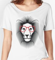 Lion wearing glasses Vector Fun Women's Relaxed Fit T-Shirt