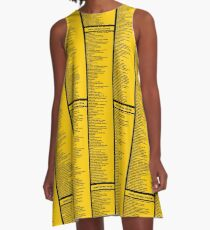 Library Sign - Dewey Decimal System by Tens -  Caution Yellow A-Line Dress