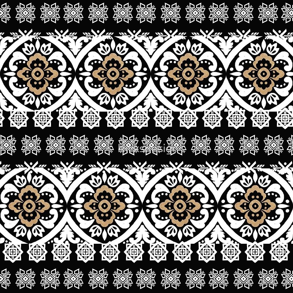 Modern black white faux gold glitter motif pattern by Maria Fernandes