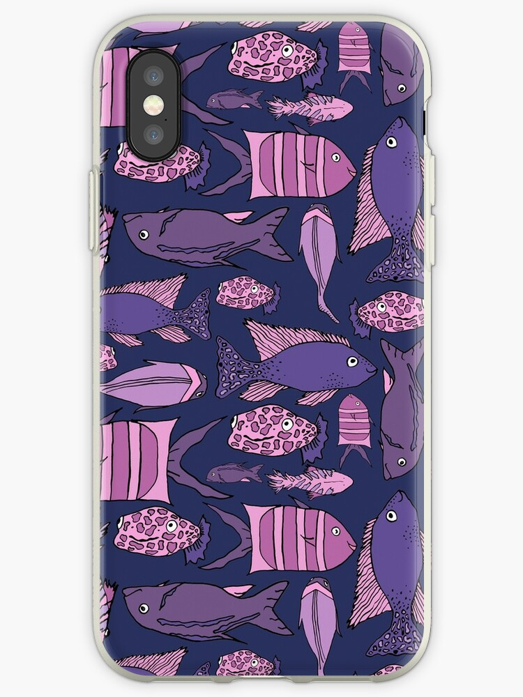 Groovy Fish - Pink and Navy by mkrowntree