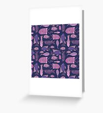 Groovy Fish - Pink and Navy Greeting Card