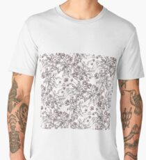 floral seamless pattern with hand drawn flowering crocus Men's Premium T-Shirt