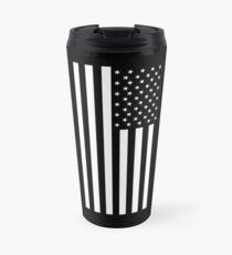 Amerikanische Flagge, SCHWARZ, In Trauer, Amerika, Americana, Stars & Stripes, Weiß auf Schwarz, PORTRÄT, USA Thermobecher