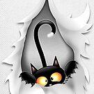 Fun Cat Cartoon in ripped fabric Hole by BluedarkArt