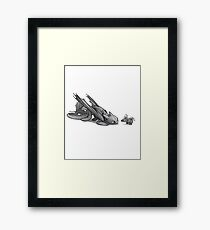 Toothless And Stitch Meet  Framed Print