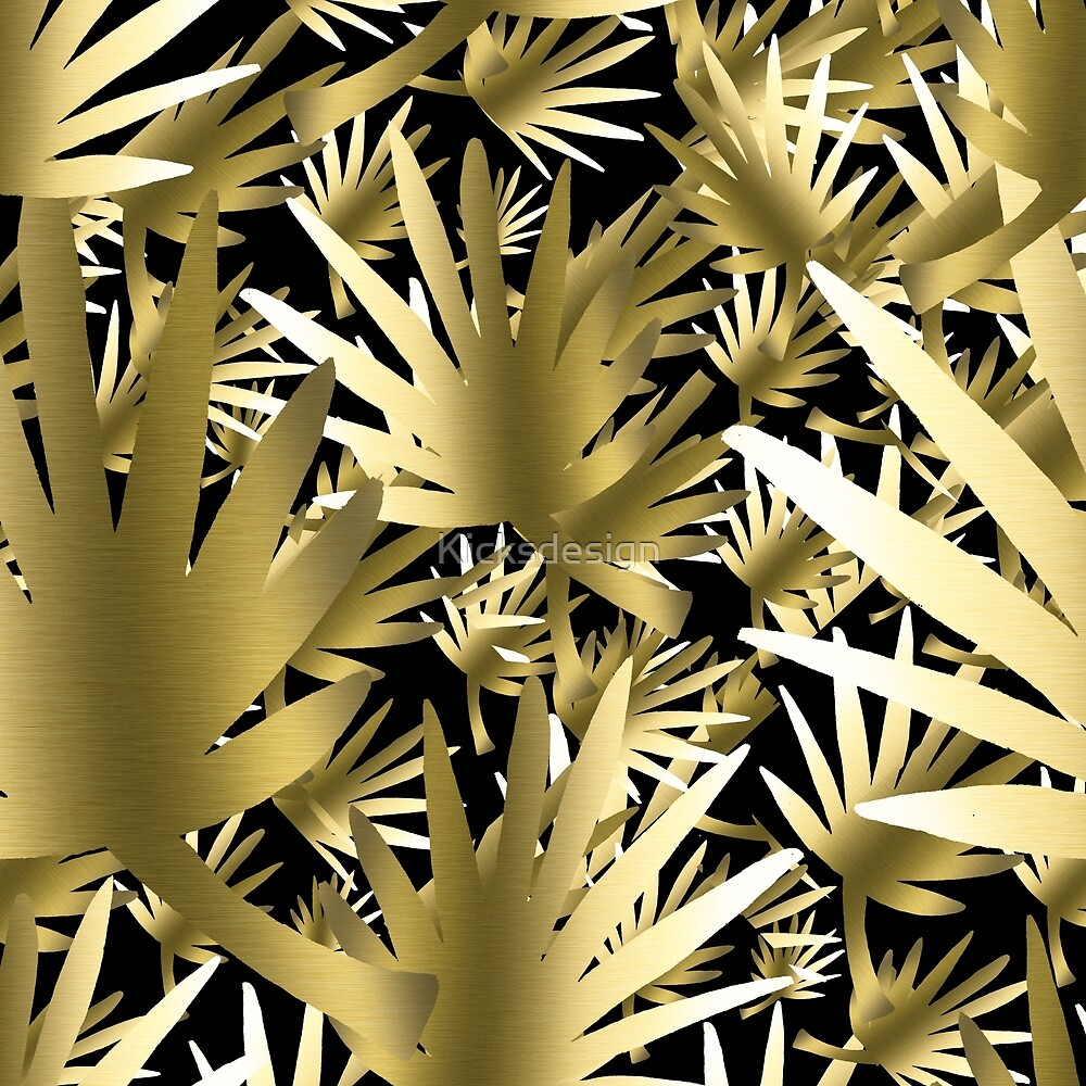Modern color gold black tropical abstract leaves by Maria Fernandes
