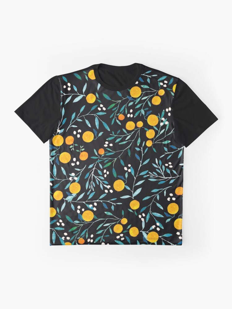 Alternate view of Oranges on Black Graphic T-Shirt