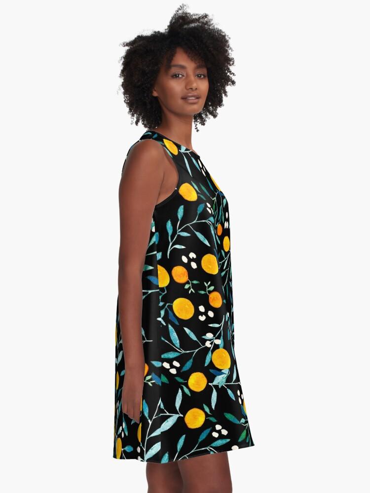 Alternate view of Oranges on Black A-Line Dress