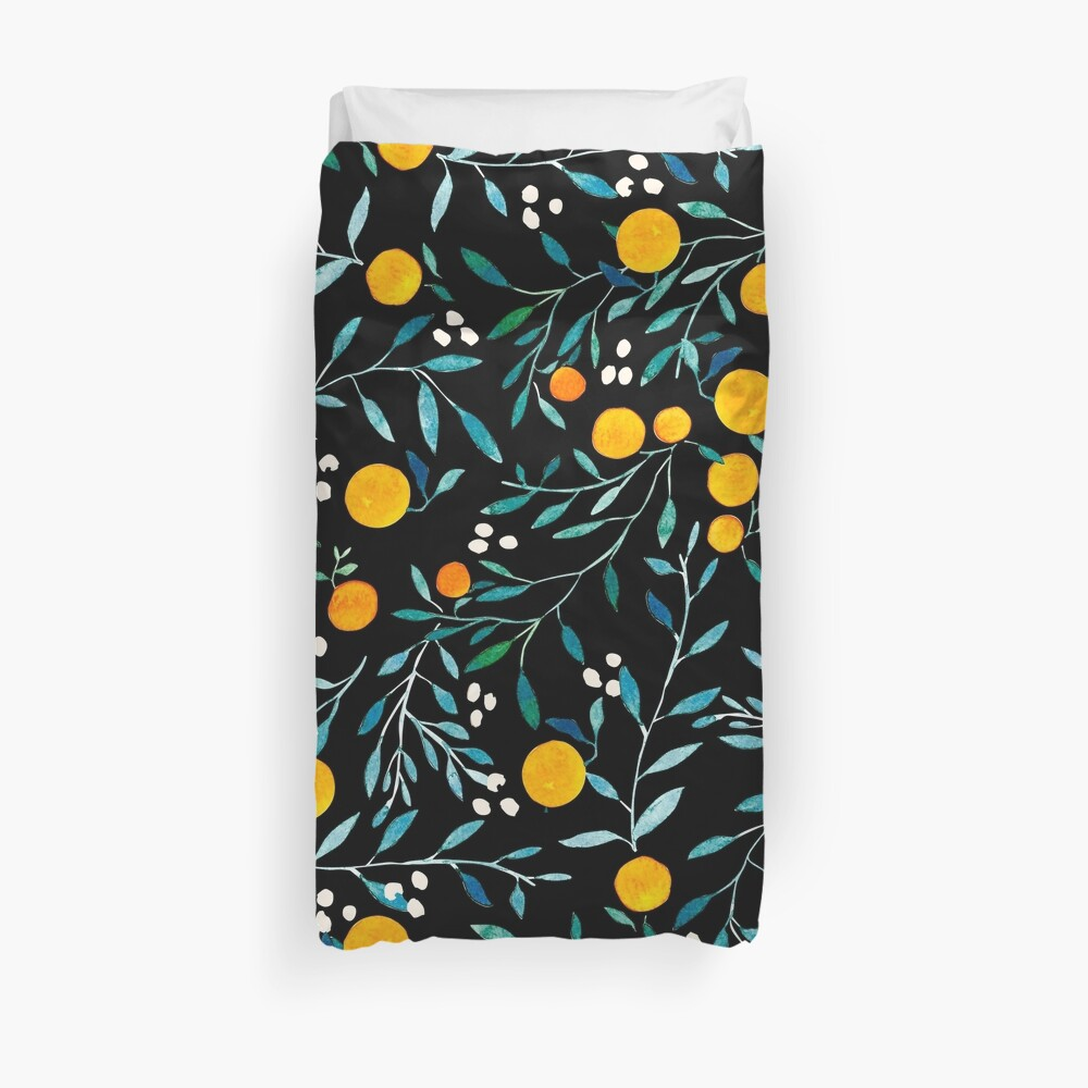 Oranges on Black Duvet Cover