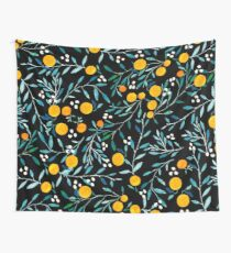 Oranges on Black Wall Tapestry