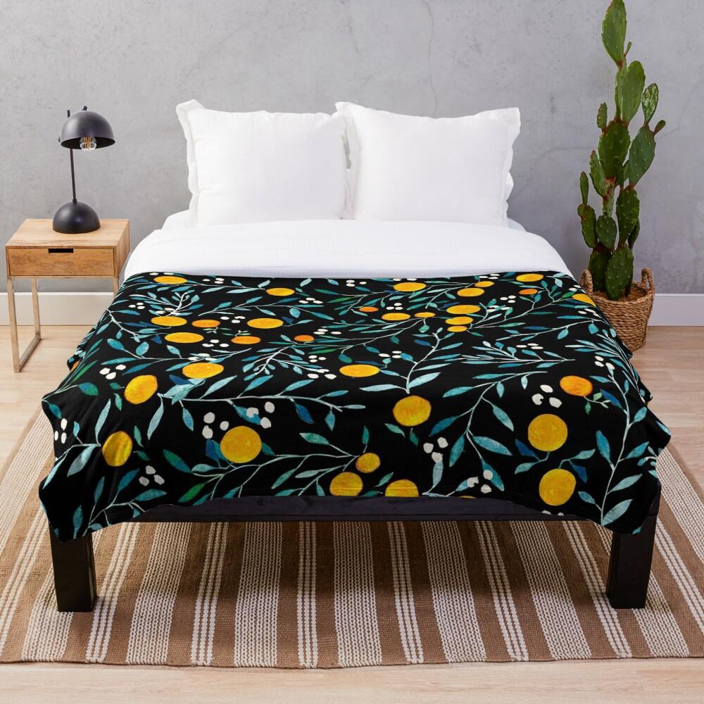 Oranges on Black Throw Blanket