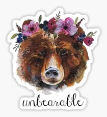 unbearable- watercolor bear pun Sticker
