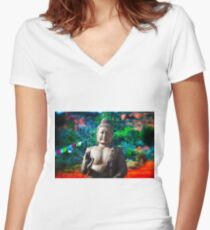 Buddha dream Women's Fitted V-Neck T-Shirt