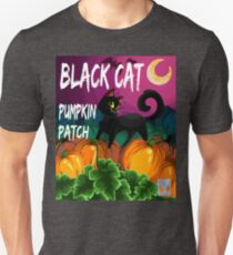 Black Cat Pumpkin Patch With Words T-Shirt