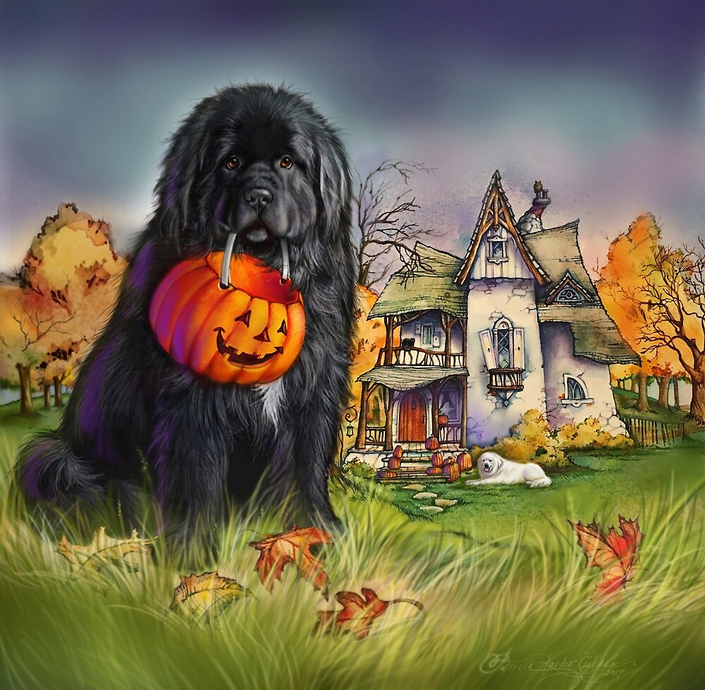 Halloween Newfie and Great Pyrenees  by Patricia Reeder Eubank