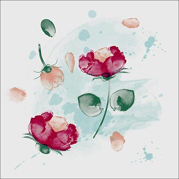 Watercolor Roses Design by MyBloomingBook