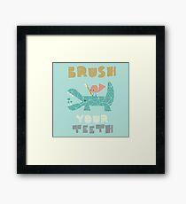 Splish Splash Zoo - Brush Your Teeth Framed Print