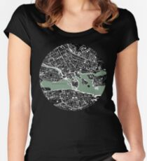 Stockholm city map engraving Women's Fitted Scoop T-Shirt