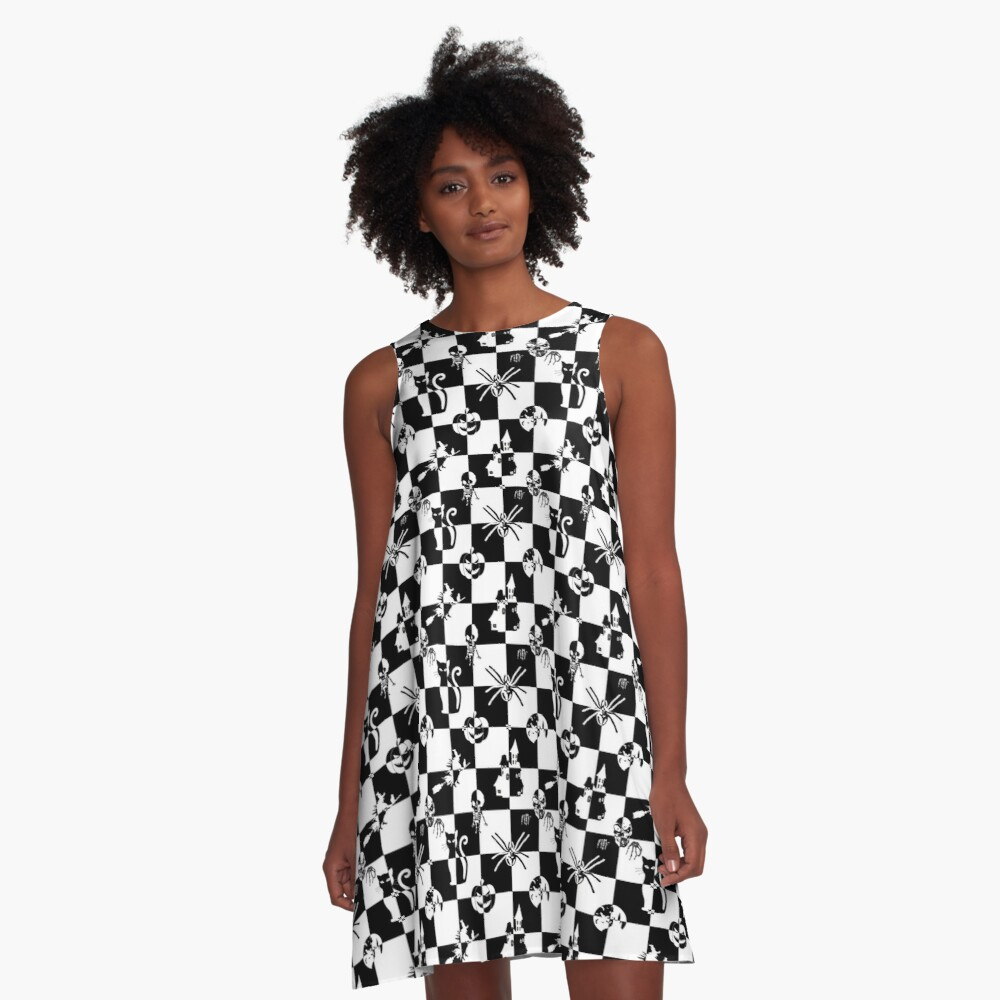 Black and White Vintage Halloween Disco Check A-Line Dress Front
