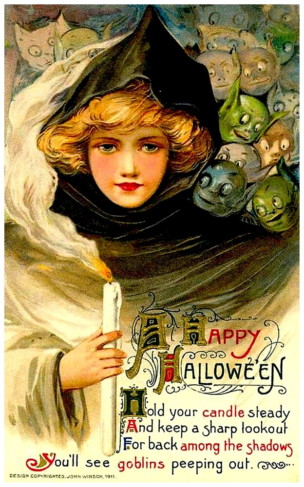 HALLOWEEN : Vintage 1911 Ghost and Goblin Advertising Print by posterbobs