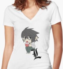 L Eats Cupcakes Women's Fitted V-Neck T-Shirt