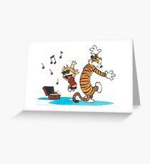Calvin and Hobbes Dancing Greeting Card