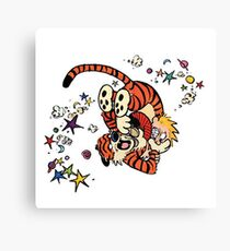 Calvin and Hobbes Wrestling Canvas Print