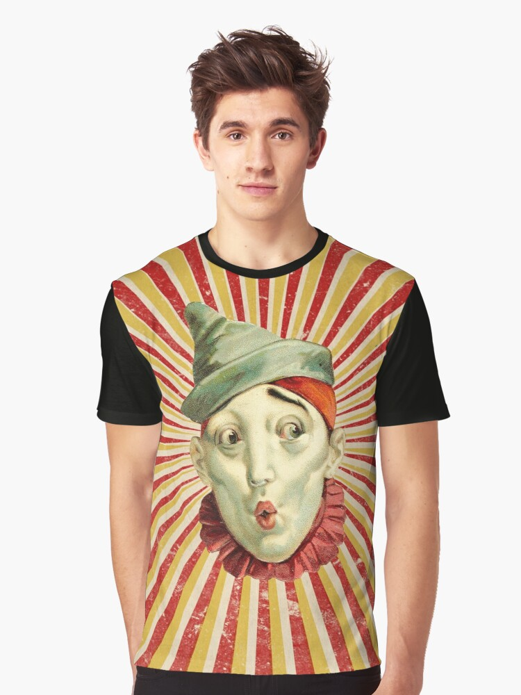 Circus Clown with Green Hat Graphic T-Shirt Front