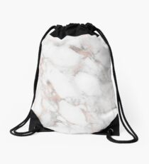 Rose Gold Marble White Drawstring Bag