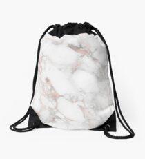 Rose Gold Marble White Drawstring Bag