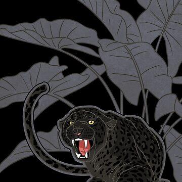 Black panthers on Black by ikerpazstudio